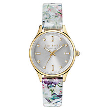 Buy Ted Baker TE10031554 Women's Zoe Enchantment Floral Leather Strap Watch, Multi/Silver Online at johnlewis.com