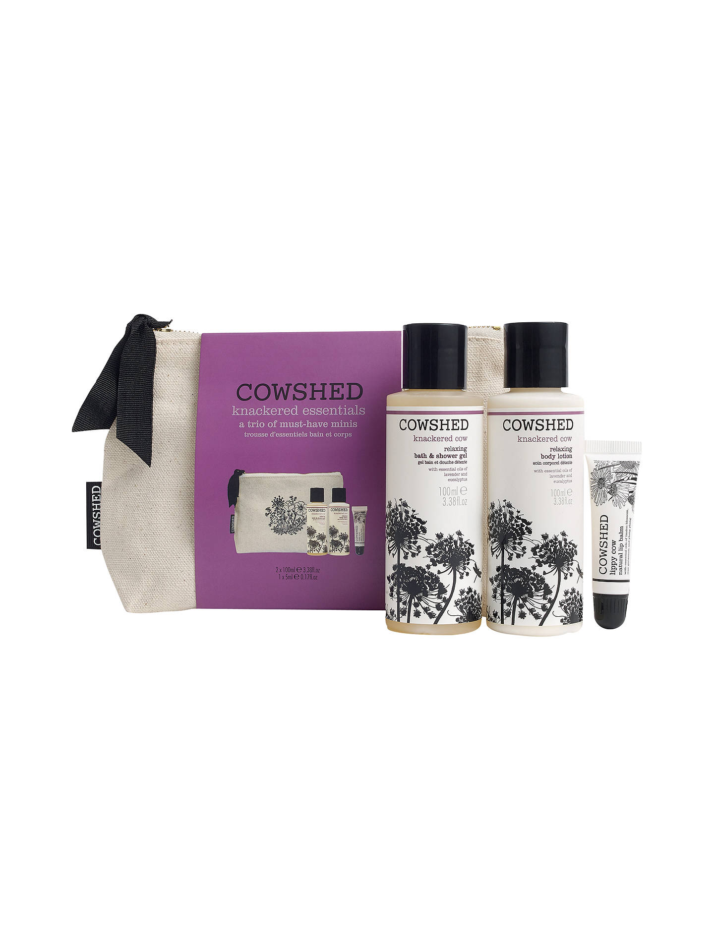 BuyCowshed Knackered Essentials Natural Bag Gift Set Online at johnlewis.com
