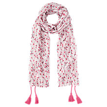 Buy Jigsaw Girls' Bird Print Tassel Scarf, Pink Online at johnlewis.com