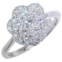 Buy EWA 18ct White Gold Diamond Cluster Flower Ring, 1.01ct Online at johnlewis.com