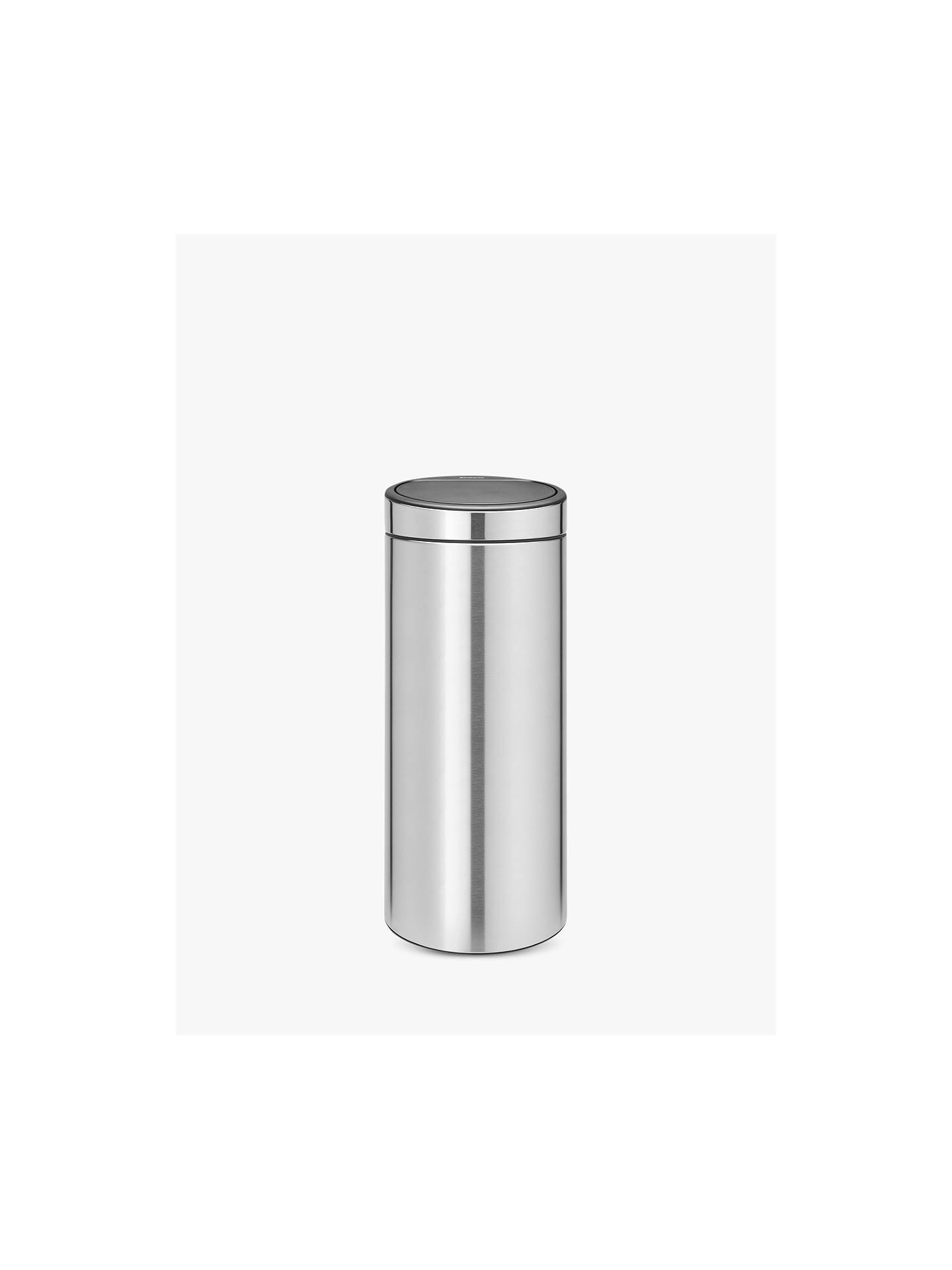 Brabantia Touch Bin 30 L Flat Top.Brabantia Fingerprint Proof Touch Bin Matt Steel 30l