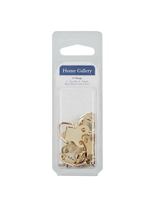 Home Gallery Large & Small Brass Plated D Rings, Pack of 8