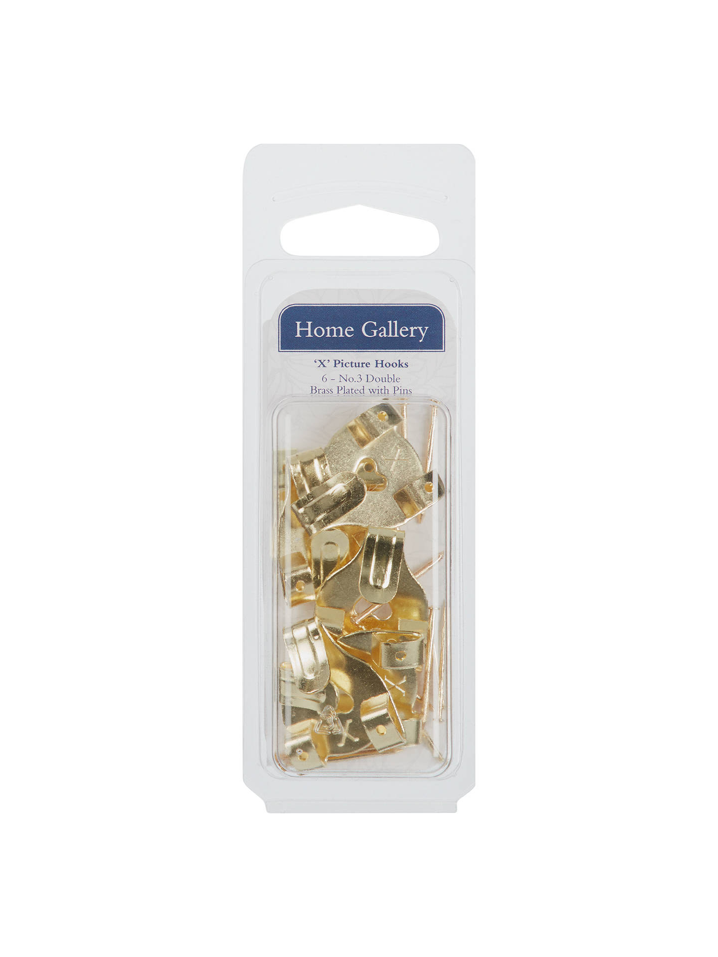 BuyHome Gallery Picture Hooks Brass Headed Pins, Pack of 6 Online at johnlewis.com