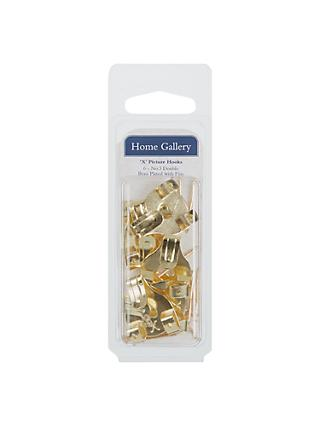 Home Gallery Picture Hooks Brass Headed Pins, Pack of 6