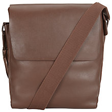 Buy John Lewis Boston Leather Reporter Bag, Chocolate Online at johnlewis.com