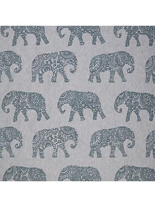 John Lewis & Partners Elephant Embroidery Furnishing Fabric, Blue