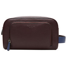 Buy Ted Baker Moofasa Leather Wash Bag, Deep Purple Online at johnlewis.com