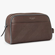 Buy Ted Baker Lockout Embossed Wash Bag, Chocolate Online at johnlewis.com