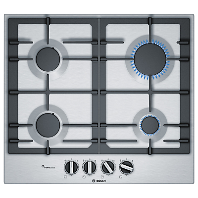 Image of Bosch PCP615B90B 4 Burner Cast Iron & Stainless Steel Gas Hob