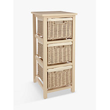Buy John Lewis Croft Collection Blakeney 3 Draw Rattan Unit, Putty Online  At Johnlewis.