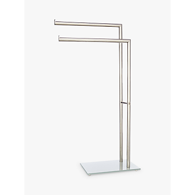 Image of John Lewis & Partners Freestanding Glass Base Double Towel Stand, Silver