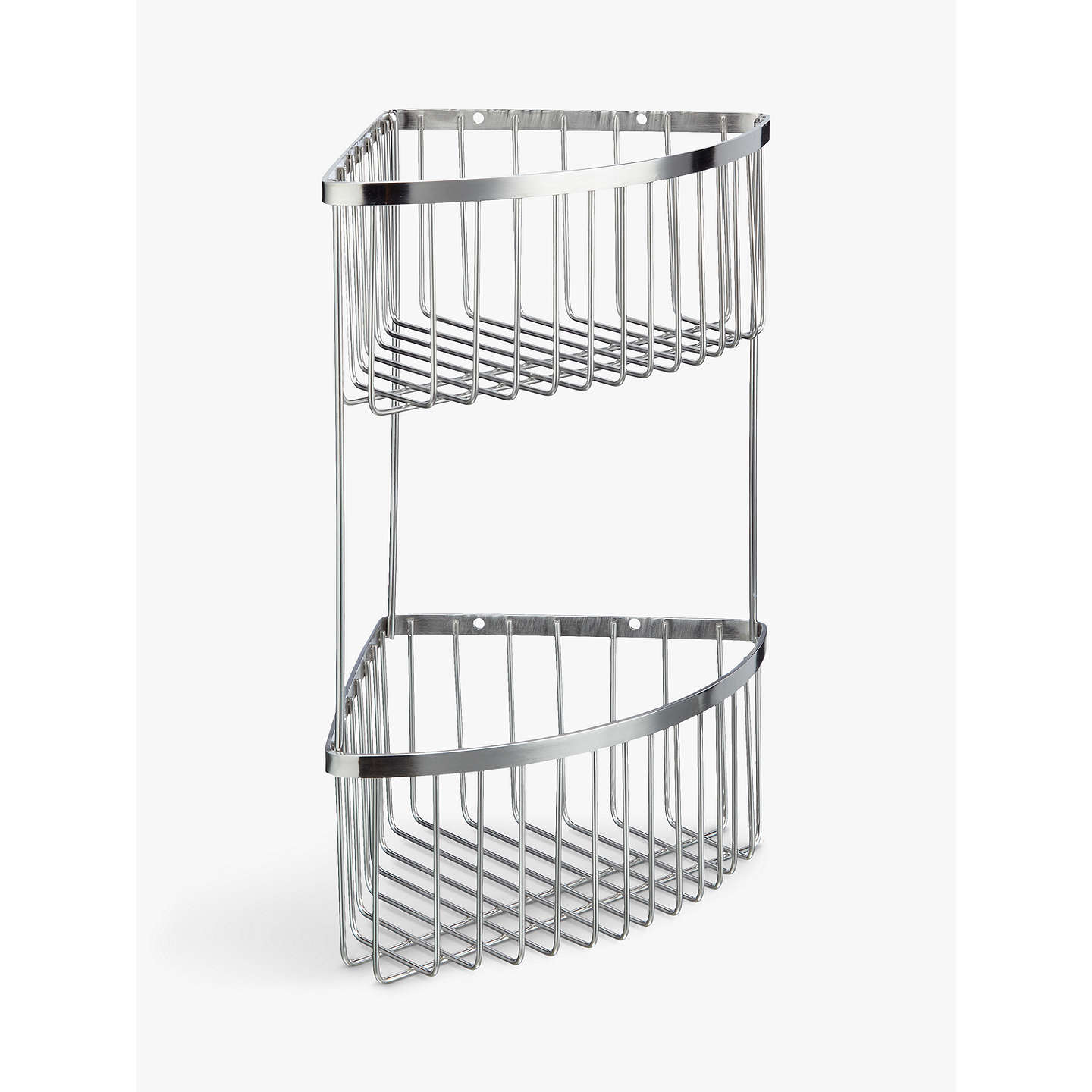 John Lewis Two Tier Stainless Steel Corner Shower Basket, Silver at ...