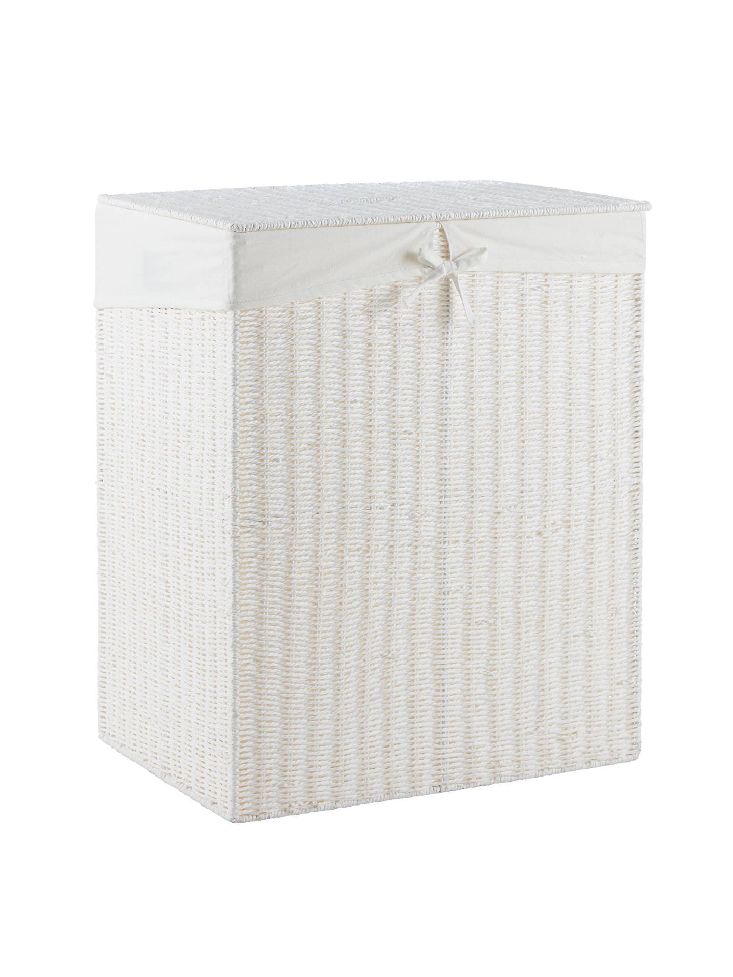 John Lewis Paper Rope Double Laundry Bin White At John Lewis Partners