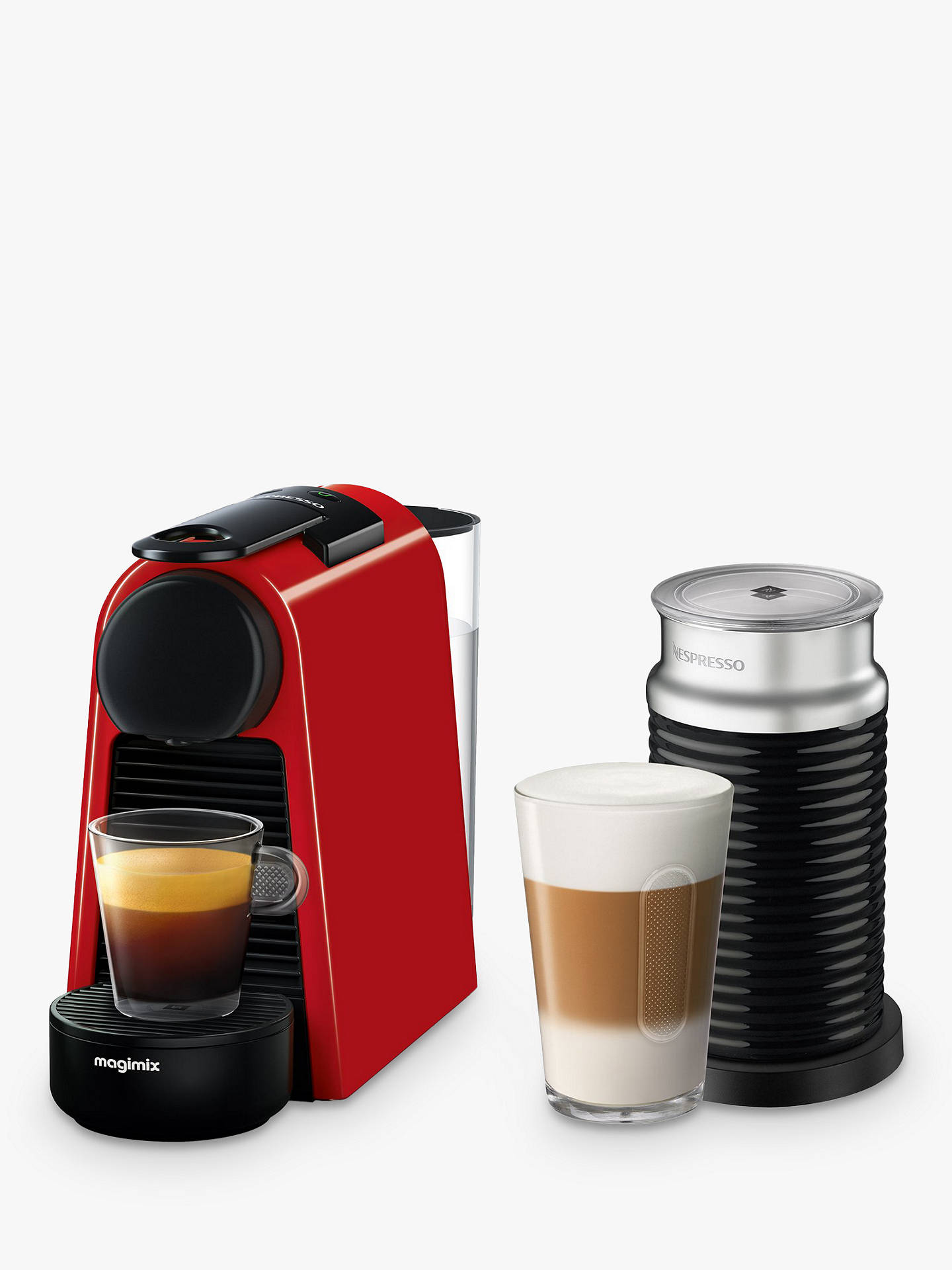 Buy Nespresso Essenza Mini Coffee Machine with Aeroccino by Magimix, Red Online at johnlewis.com