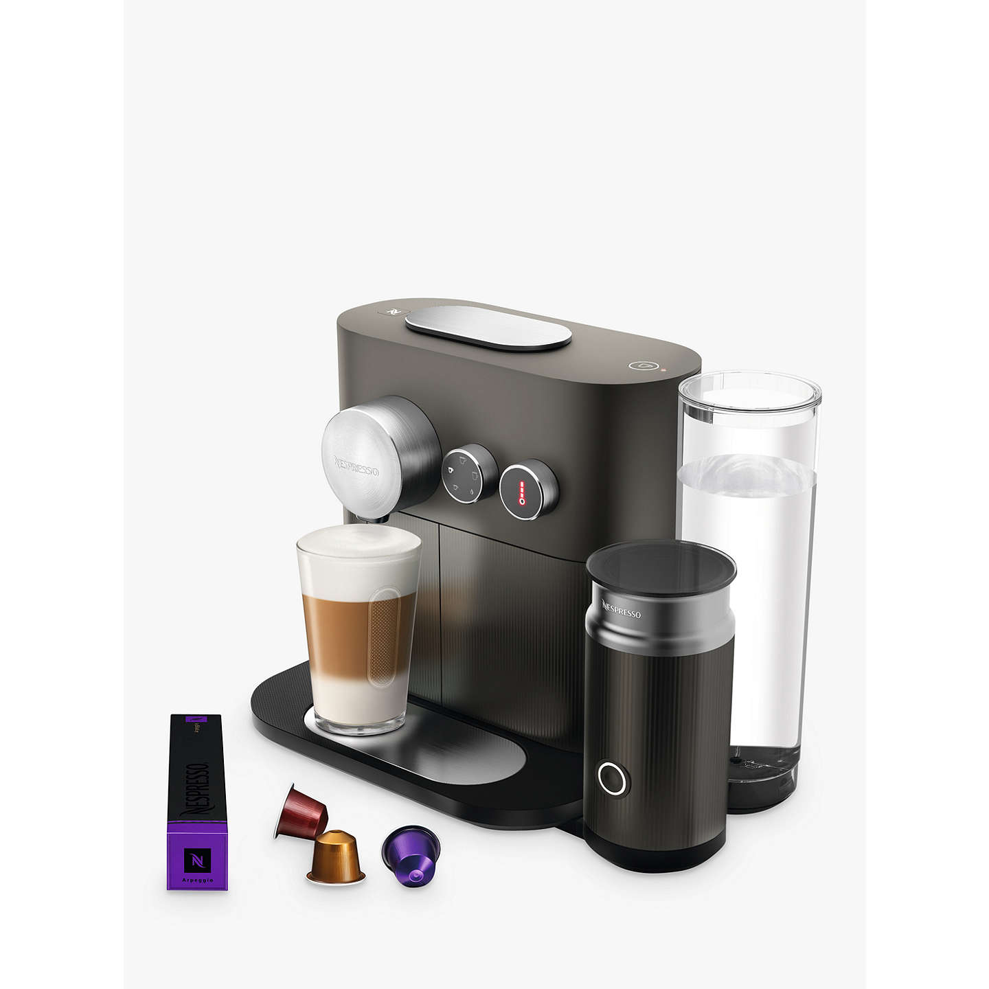 nespresso expert m500 coffee machine with aeroccino by magimix grey at john lewis. Black Bedroom Furniture Sets. Home Design Ideas