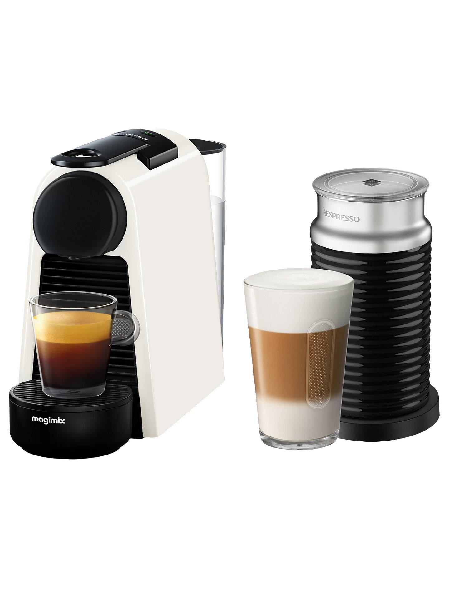 Buy Nespresso Essenza Mini Coffee Machine with Aeroccino by Magimix, White Online at johnlewis.com