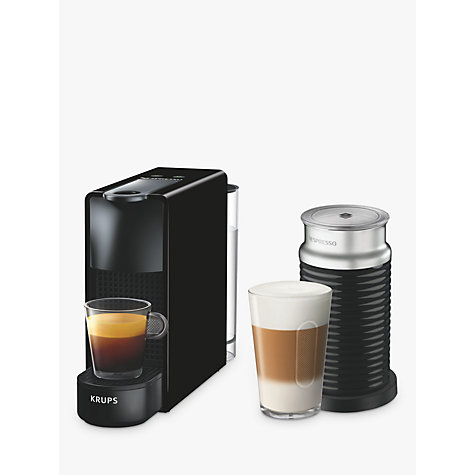buy nespresso essenza mini coffee machine with aeroccino by krups black john lewis. Black Bedroom Furniture Sets. Home Design Ideas