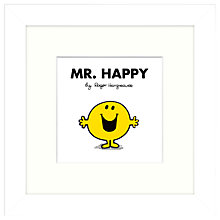 Buy Roger Hargreaves - Mr. Men, Mr Happy Framed Print, 23.5 x 23.5cm Online at johnlewis.com