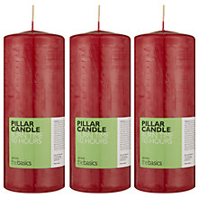 Buy John Lewis The Basics Large Pillar Candles, Red, Set of 3 Online at johnlewis.com