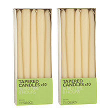 Buy John Lewis The Basics 10 Tapered Dinner Candles, Ivory, Set of 2 Online at johnlewis.com