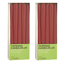 Buy John Lewis The Basics 10 Tapered Dinner Candles, Red, Set of 2 Online at johnlewis.com