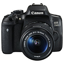 "Buy Canon EOS 750D Digital SLR with 18-55mm IS STM Lens, HD 1080p, 24.2MP, Wi-Fi, NFC, 3.0"" Vari Angle LCD Screen with Additional Battery Kit Online at johnlewis.com"