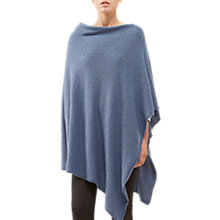 Buy Jigsaw Long Knitted Rib Border Poncho, Bright Blue Online at johnlewis.com