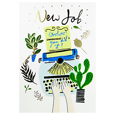 Woodmansterne Typewriter New Job Greeting Card