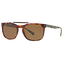 Buy Burberry BE4244 Polarised Square Sunglasses, Tortoise/Brown Online at johnlewis.com