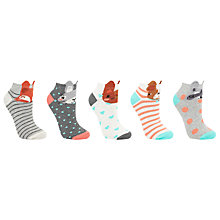 Buy John Lewis Animal Face Print Trainer Socks, Pack of 5, Multi Online at johnlewis.com