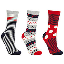 Buy John Lewis Spot and Stripe Print Ankle Socks, Pack of 3, Multi Online at johnlewis.com