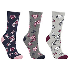 Buy John Lewis Floral Print Ankle Socks, Pack of 3, Multi Online at johnlewis.com