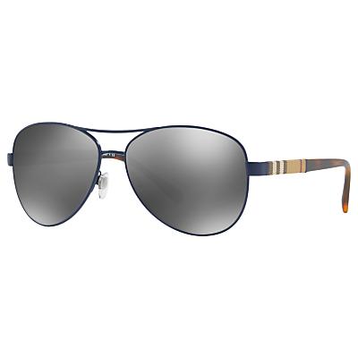 Burberry BE3080 Aviator Sunglasses, Black/Mirror Grey