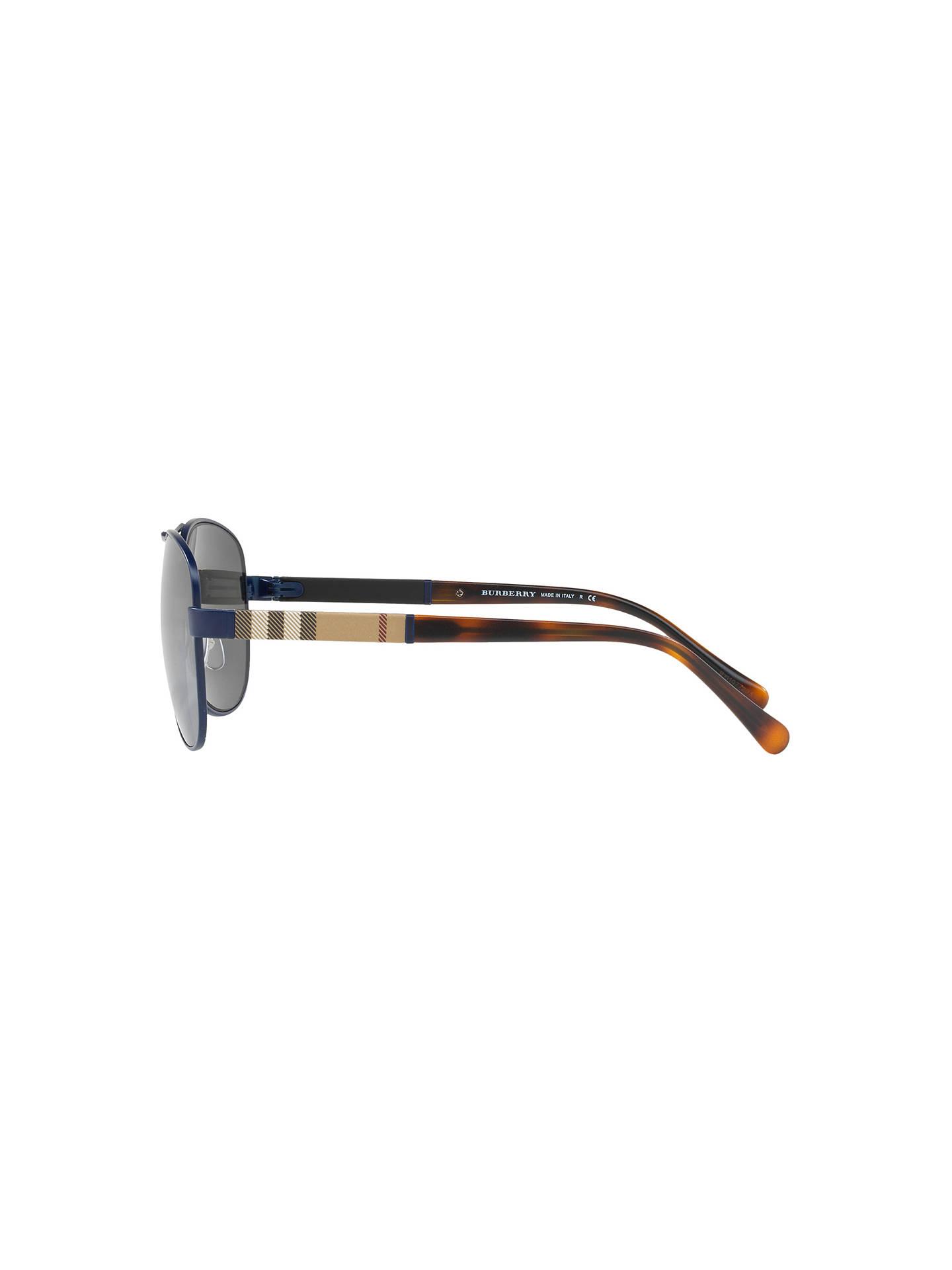 e9a672642eb0 ... Buy Burberry BE3080 Aviator Sunglasses, Black/Mirror Grey Online at  johnlewis.com ...