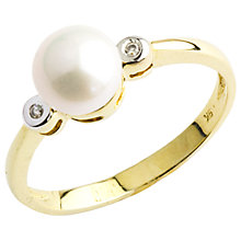 Buy A B Davis 9ct Gold Pearl Diamond Ring, Gold/White Online at johnlewis.com