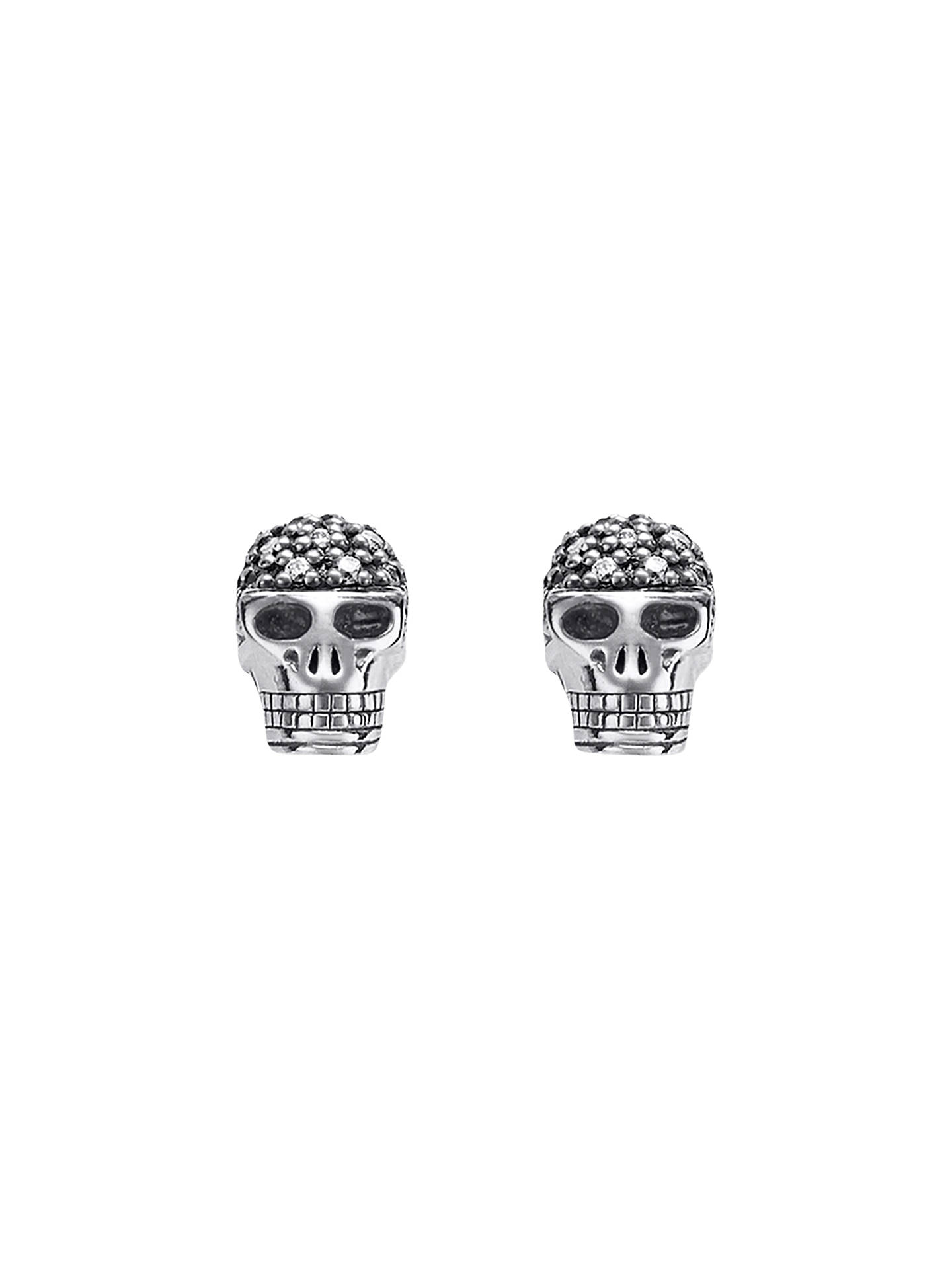 Thomas Sabo Diamond Skull Stud Earrings Silver Online At Johnlewis
