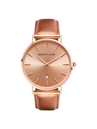 c8000da109b6 Abbott Lyon Women's Stellar 40 Date Leather Strap Watch, Rose Gold