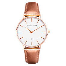 Buy Abbott Lyon Women's Kensington 34 Date Leather Strap Watch, Rose Gold/White Online at johnlewis.com