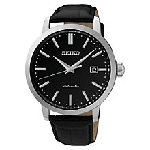 Buy Seiko SRPA27K1 Men's Automatic Date Leather Strap Watch, Black Online at johnlewis.com