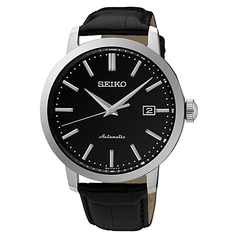 leather men s watches john lewis buy seiko srpa27k1 men s automatic date leather strap watch black online at johnlewis com