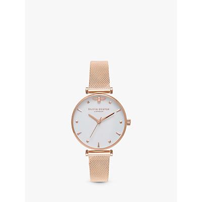 Olivia Burton OB16AM105 Women's Queen Bee Bracelet Strap Watch, Rose Gold/White