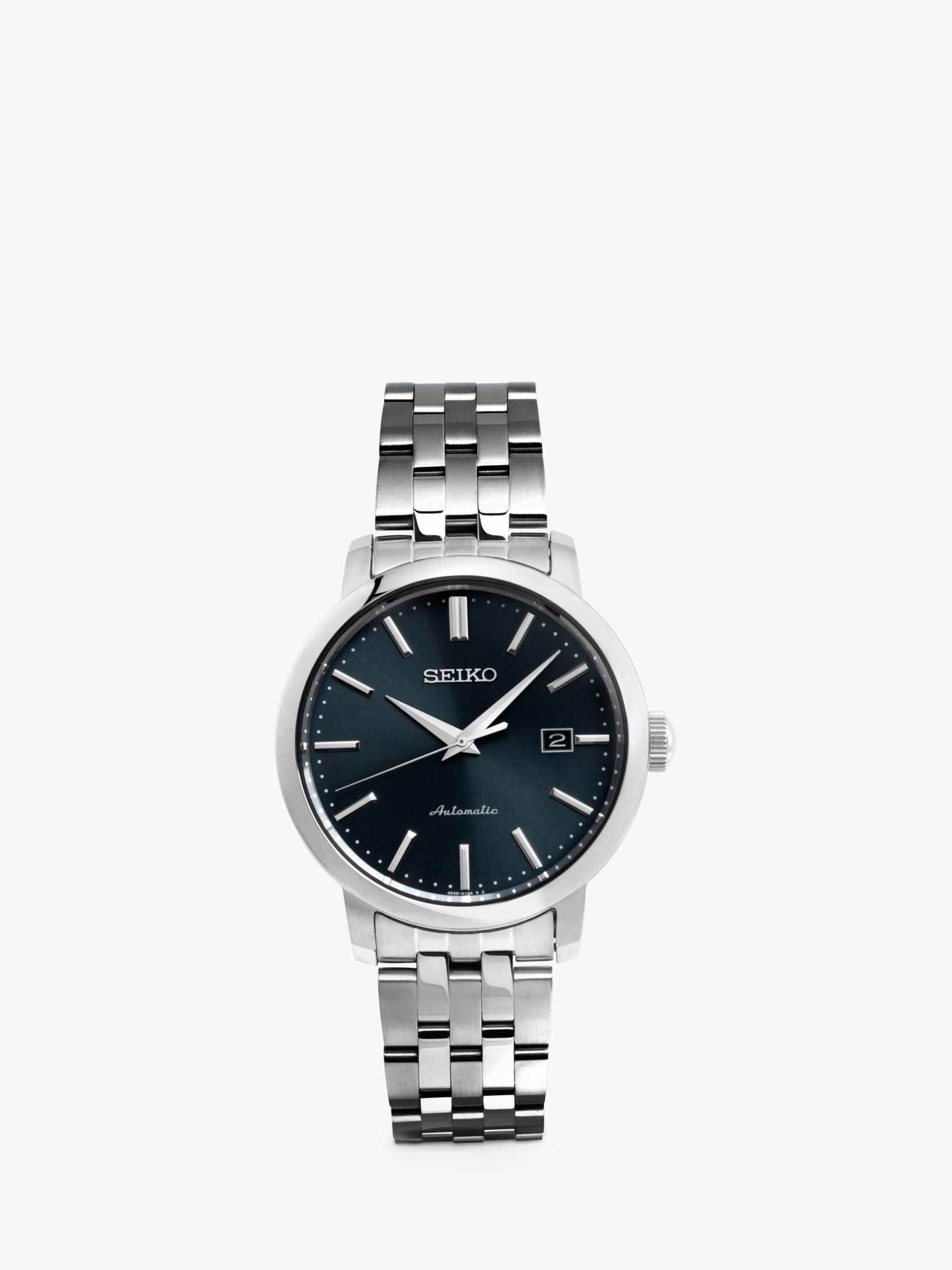 Seiko Seiko SRPA25K1 Men's Automatic Date Bracelet Strap Watch, Silver/Blue