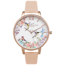 Buy Olivia Burton OB15PP12 Women's Painterly Prints Leather Strap Watch, Nude Peach/White Online at johnlewis.com