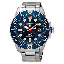 Buy Seiko SNE435P1 Men's Prospex Padi Date Bracelet Strap Watch, Silver/Blue Online at johnlewis.com