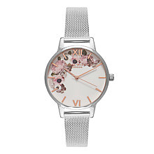 Buy Olivia Burton OB16WG30 Women's Signature Florals Mesh Bracelet Strap Watch, Silver/White Online at johnlewis.com