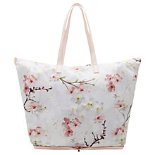 Buy Ted Baker Darin Oriental Blossom Foldaway Shopper Bag, Light Grey Online at johnlewis.com