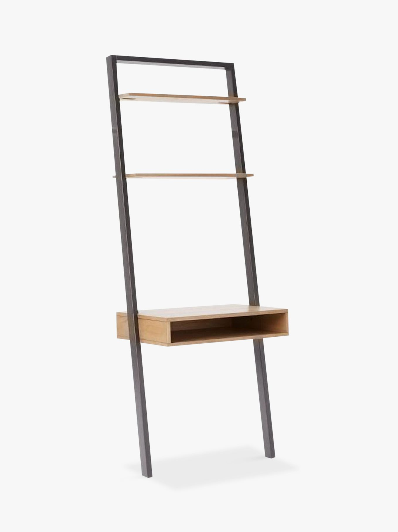 West Elm Ladder Shelf Storage Desk Basalt Grey Waxed Oak At John Lewis Partners