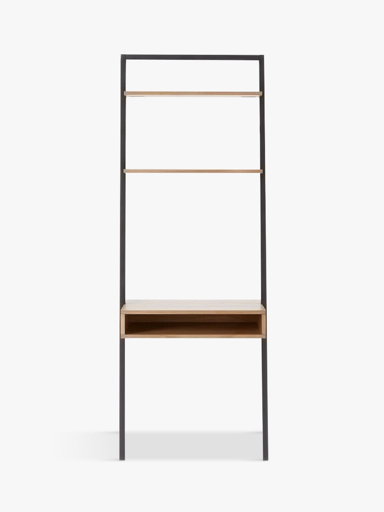 West Elm Ladder Shelf Storage Desk Basalt Grey Waxed Oak At John Lewis Partners