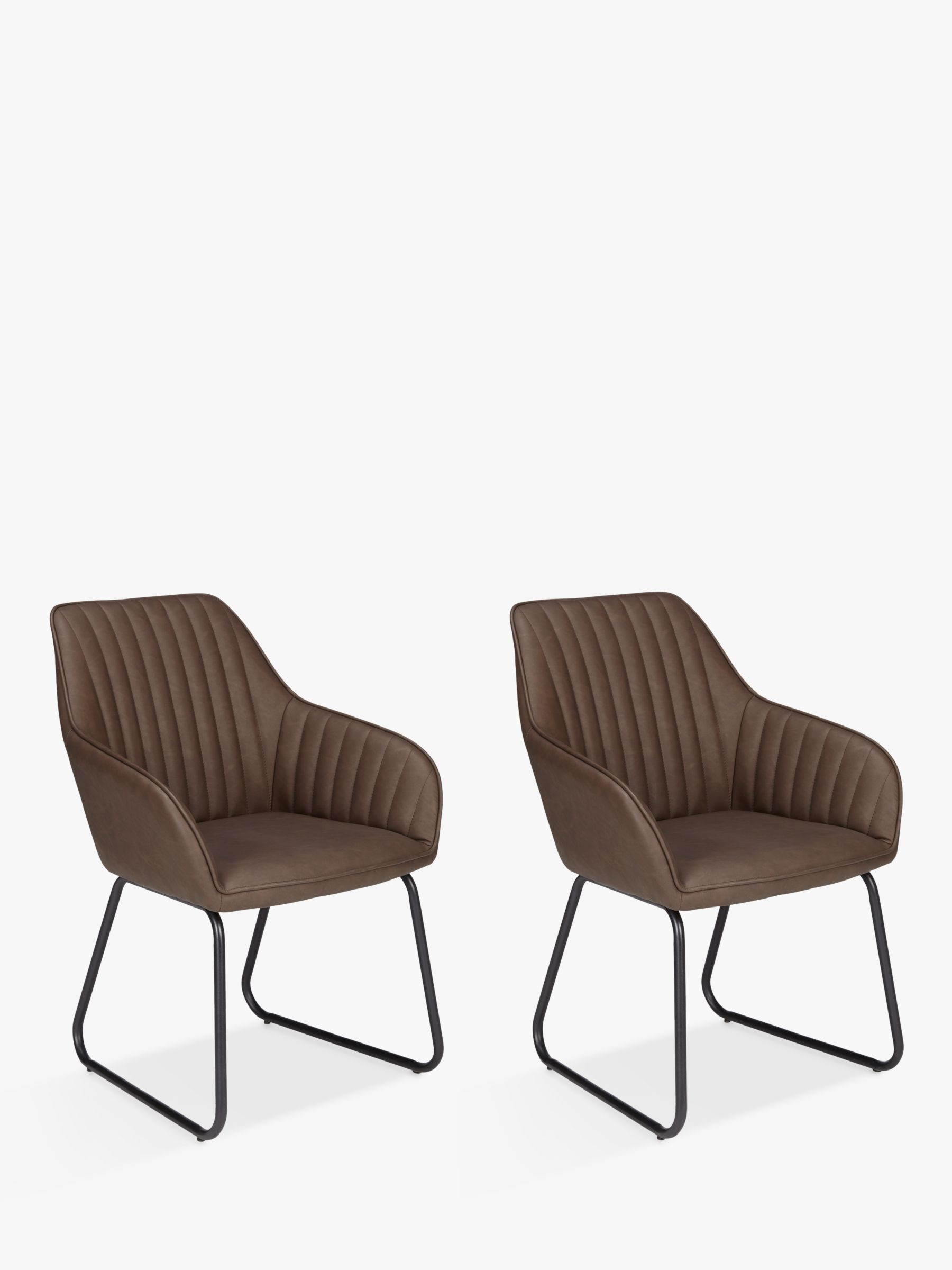 John Lewis & Partners Brooks Dining Armchairs, Set of 9, Antique Brown