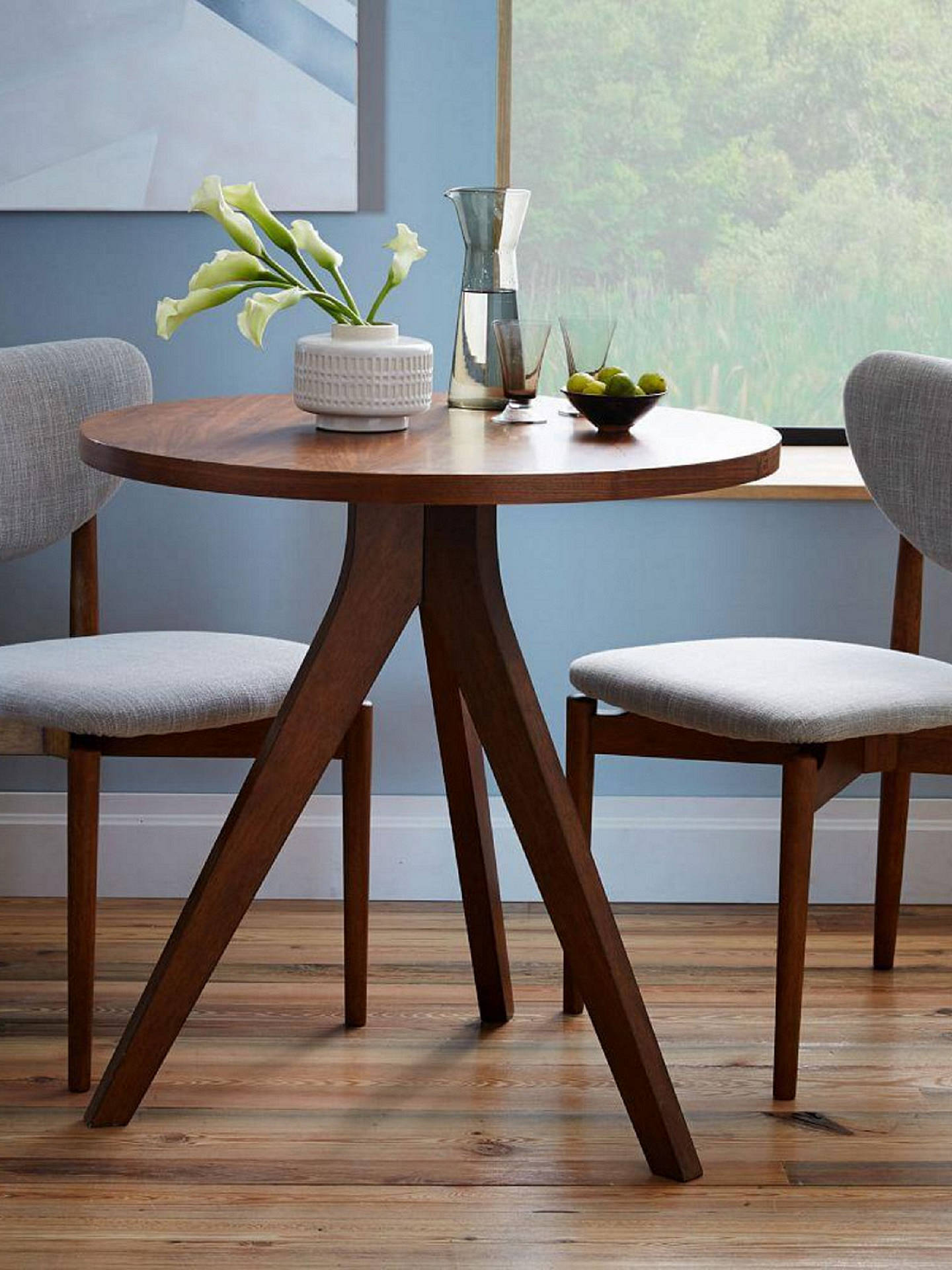 Buywest elm tripod round 2 seater dining table walnut online at johnlewis com